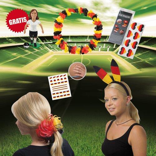 elasto Fußball WM 2018 Fanset Girl 8-Teilige Deutschland Fanpaket mit Fantape Fingernagelaufkleber Haarreif Hawaiikette Haargummi