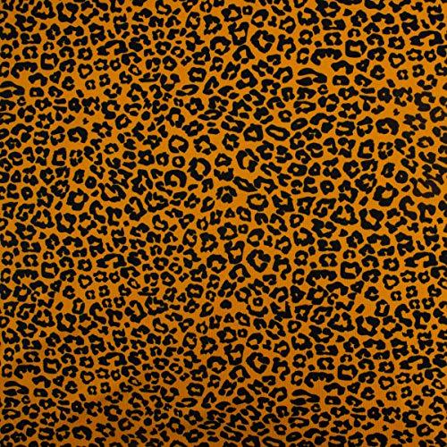 SCHÖNER LEBEN. Baumwolljersey Jersey Stoff Animal Print Leopard Ocker 1,50m -