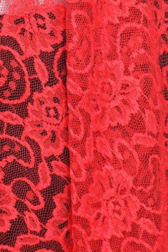 Cardigan Damen lang Spitze Strick Strickjacke Häkeljacke Langarm festlicher Abendmantel Blumen-Muster Boho Style Winter passend zu Abendmode Brautmode Rot