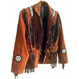 Coolhides Men's Western Fringed and Beaded Brown Suede Leather Coat