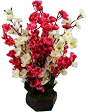 Sofix Beautiful Artificial Flower Pot Peach Blossom Flower Bunch Pot for Home Decor Hotel Decor Office Decor on Amazon - 14 Sticks 40cm (Red White)