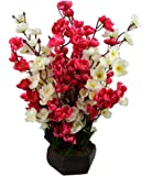 Sofix Bonsai Blossom Artificial Flowers with Pot Home Decorative Flower Pot (Red White)