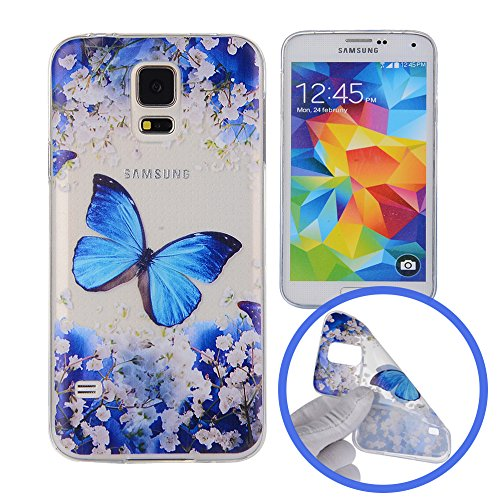 Silingsan Custodia in Silicone per Samsung Galaxy S5 Cover Gomma Gel TPU Soft Slim Case Cover Protettiva Custodia Leggero Sottile Cover Morbida Flessibile Cassa Antigraffio Antiurto - Farfalla Blu