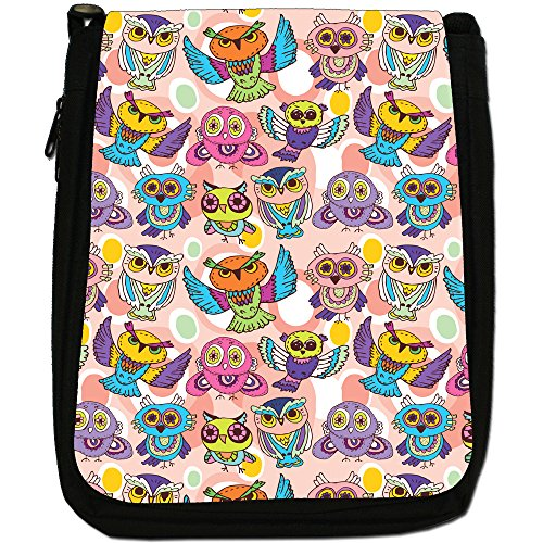 Big Eye Gufo carta da parati Medium Nero Borsa In Tela, taglia M Beautiful Pretty Flying Owls