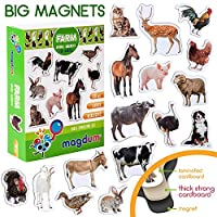MAGDUM FARM PHOTO realistic animal magnets for kids -real LARGE fridge magnets for toddlers- Magnetic EDUcational toys baby 3 year old baby LEARNing magnets for kids- Kid magnets for Magnetic THEATRE
