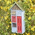 Relaxdays Insektenhotel mit Metalldach für Bienen & Schmetterlinge, Nisthilfe für Balkon, HxBxT: 48,5 x 24 x 14 cm, blau von Relaxdays - Du und dein Garten