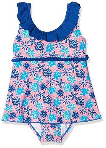 Playshoes Mädchen Einteiler Badeanzug mit Rock Veilchen mit UV-Schutz, Mehrfarbig (Lachs 41), 110 (Herstellergröße: 110/116)