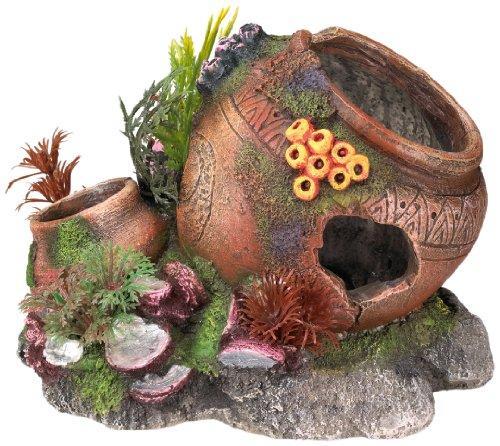 """Nobby Aqua Ornaments \""""KRUG MIT MUSCHELN\"""" mit Pflanzen  17,5 x 13,2 x 13 cm"""
