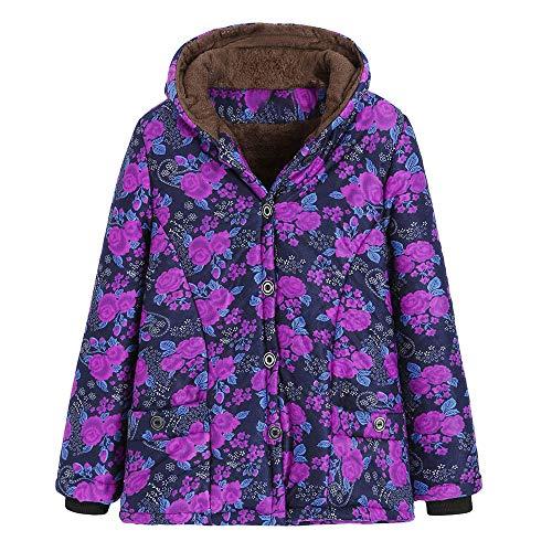 Femme Blouson à Manches Longues Manteau Veste Sweat-Shirt À Capuche, QinMM Femmes Hiver Chaud Outwear imprimé Floral Poches à Capuchon Manteaux Oversize Vintage