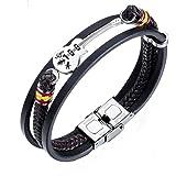 Bystar Men Women Stainless Steel Bracelet Creative Multi Circles Mini Guitar Wrap Weave Genuine Leather Wristband
