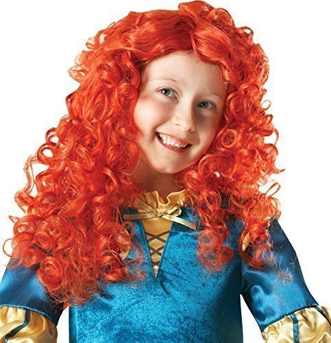 Mädchen Disney Brave Prinzessin Merida Geschweifte Ingwer Schottisch Kostüm Kleid Outfit Perücke (Merida Kostüm Disney Kostüm Brave)