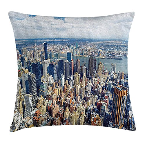 ZMYGH Modern Throw Pillow Cushion Cover, Aerial View of Manhattan Skyline High Skyscrapers Business Center USA Landscape, Decorative Square Accent Pillow Case, Light Blue Grey 20x20inches -
