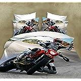 Activité de HD d'aloès teinture du coton à domicile lit chambre literie 3D jeu Moto athlètes quatre set--complet