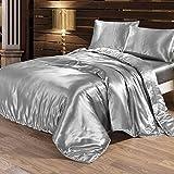 Bettwäsche-Set |1 x Bettbezug, 1 x Bettuch, 2 x Kissenbezüge| aus Seide|Weiss|Verschiedene Größe|Glatt und Kühl|