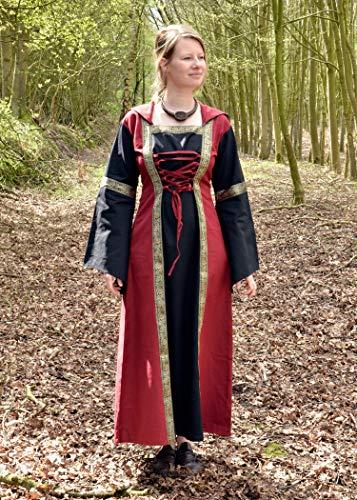 Mittelalterkleid Eleanor mit Kapuze, rot/schwarz – Mittelalter Kleid, LARPkleid, Wikingerkleid Größe M - 2