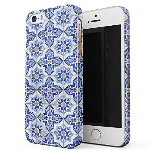 BURGA iPhone 5 / 5s / SE Case, Blue City Moroccan Tiles Pattern Mosaic Thin Design Durable Hard Plastic Protective Case For Apple iPhone 5 / 5s / SE