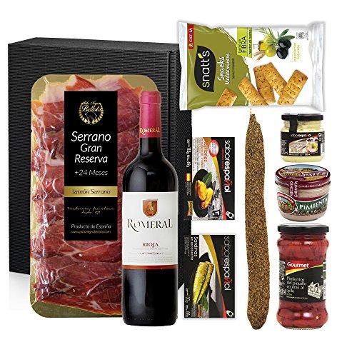 Spanische Geschenke, geschenkideen, präsentkorb, geschenkkorb – Rotwein Rioja, Serrano Schinken 200 gr, Snatt's Rosmarin, Mejillones, Sardinen, Fuet Rosmarin, Allioli, Pate Pfeffe und Paprika