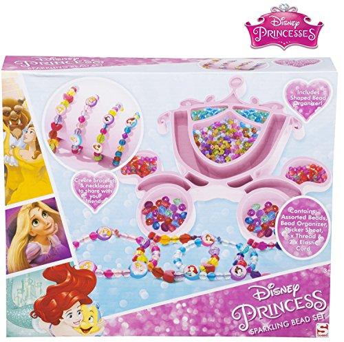 Kinder Perlen für Kinder Mädchen Disney Prinsers Funkelnde Perlen-Handwerk-Set mit Cinderella Kürbis geformt Bead Organizer