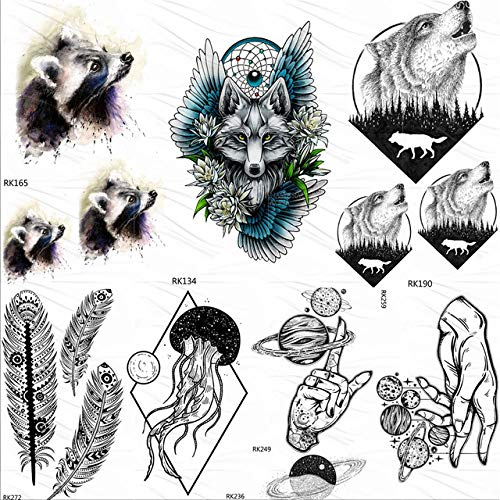 lihaohao Tribal Waschbär Wolf Temporäre Tattoos Aufkleber Wald Runde Howl Fake Tattoo Benutzerdefinierte Tatoos Kunst Flügel Blume Traumfänger10X6Cm 7Pc