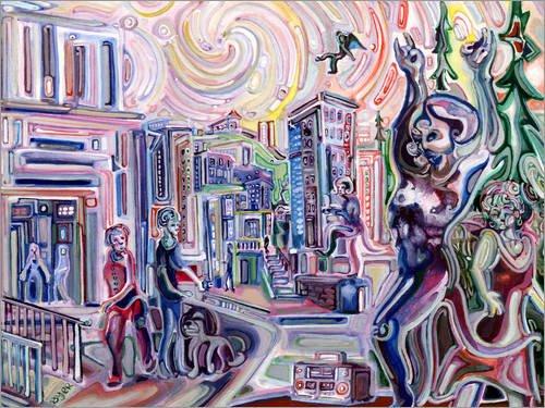 Leinwandbild 160 x 120 cm: Die Nacht Rock und Roll zurückgegeben von Josh Byer - fertiges Wandbild, Bild auf Keilrahmen, Fertigbild auf echter Leinwand, Leinwanddruck -