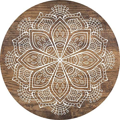 Cuadros Lifestyle 2D-Wandobjekt aus Holz | Mandala | Zeichen | Floral | Wandteller | Holzbild | Shabby-Look | Landhaus | Vintage | Holzobjekt | Deko | Holzdruck | Geschenk, Größe:ca. 30x30cm