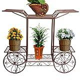 Home Garden Best Deals - Metal Flower Cart Rack Display Garden Tree Home Decor Patio Plant Stand Holder Bronze