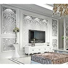 """Gris papel pintado elegante de dormitorio papel Mural de sólido decoración del hogar lujo Damasco en relieve 3d Wave nieve rollos de papel pintado (20,8""""W) * (32,8'l) = 5,3y # x33A1; (Reino Unido Envío)"""