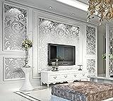 Rouleau de 5,3m² de papier peint élégant gris argenté en damas non tissé résistant avec motifs de vagues en relief