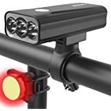 BIKIL Bike Lights Set Front and Back USB Rechargeable, 6400 mAh Super Bright 2400 Lumen Bicycle light,Easy to Install Bike He
