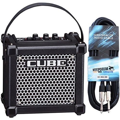 Roland Micro Cube GX Gitarrenverstärker Schwarz + keepdrum Gitarrenkabel 3m