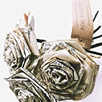 Book Paper Flowers Roses Rose Bouquet Vintage Gift for Her Wife Fiancée Book Lover Nerd Worm Wedding Bouquet Novel Literary Valentine's Day Gift Anniversary Home Décor (Bunch of 5-6)
