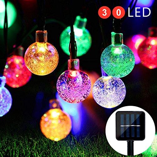 Solar Lichterkette Außen Kristall Kugeln Mr.Twinklelight 30er LED Garten Licht Wasserfest Gartenlicht mit Lichtsensor von iihome 4.5 Meter Weihnachtsdeko für Außen Garten, Terrasse, Zuhause, Weihnachtsbaum und Partys Energieklasse A++ (Mehrfarbig)