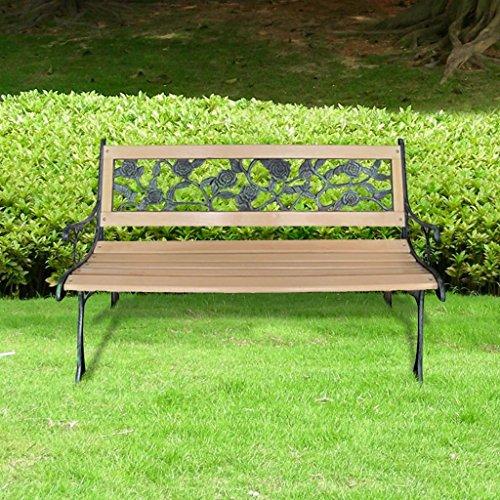 lingjiushopping Gartenbank XL mit Rückenlehne mit Rose Größe: 122x 73x 34cm (L x B x H) Bänke Außenbeleuchtung