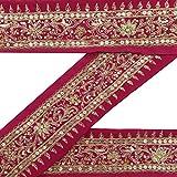 Jahrgang indische Hand-Perlen Magenta Border Trim Startseite Sari Dekor 1YD Band