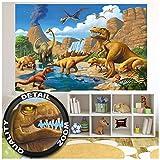GREAT ART XXL Poster Kinderzimmer - Abenteuer Dinosaurier - Wandbild Dekoration Dinowelt Comic Style Jungle Adventure Dinosaurus Wasserfall Wandposter Fotoposter Wanddeko (140 x 100 cm)