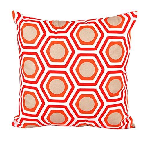 LuckyGirls Kissenbezug 45 x 45 cm Geometrische Form Sofa Bett Auto Home Decor Festival Kissenhülle (Orange)
