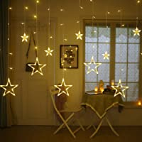 Quace Plastic 138 LED Curtain String Lights with 8 Flashing Modes Decoration(12 Stars, Yellow)