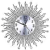 ROSENICE Kristallen Wanduhren Bürouhr Küchenuhr mit Stein Deko Diamant Kreative Metall Wanduhr