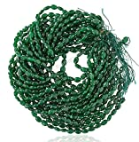 #8: Emerald Color Quartz Straight Drill Oval Shape (Mani) Loose Gemstone Beads, 5x7 mm plain smooth polished 15 inch length, emerald green color, for jewelry making, wholesale price, exclusively by Ratnagarbha.