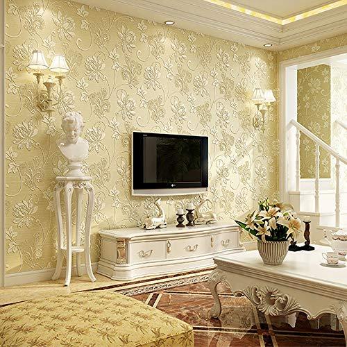 EuropäIsche Tapeten, Vlies Abwaschbar Luxus 3D Tapete Rolle FüR Wohnzimmer-Schlafzimmer, Beige 0.53M * 10M -