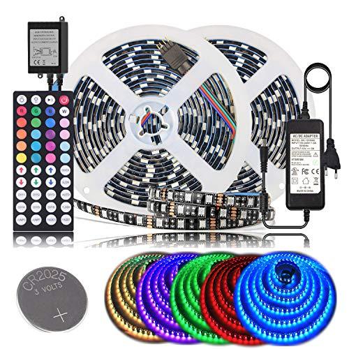 BIHRTC LED Streifen 10M RGB LED Strip 600 LED 5050 SMD LED Band Lichterkette Bänder Hintergrundbeleuchtung mit 44 Tasten Fernbedienung EU Plug DC 12V Netzteil IP65 Selbstklebend Beleuchtung -