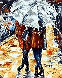 DIY Ölgemälde, Malen nach Zahlen Kit für Kinder Erwachsene Anfänger 40,6x 50,8cm–Pretty Frau mit Regenschirm, Zeichnen mit Pinsel Weihnachten Decor Dekorationen Geschenke Frame