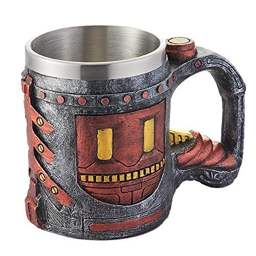 KOBWA Edelstahl 3D Kaffeetasse Edelstahl 300-350 ml Reise Tee Wein Bierkrüge Bier Kaffee und Tee Tasse Geschenk für Mann