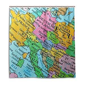 Mi Diario Mapa de Europa cortina de ducha 66x 72inch, resistente al moho y poliéster resistente al agua–cortina de baño