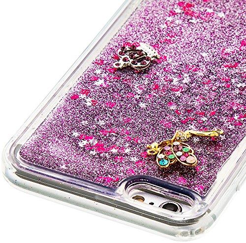 Nnopbeclik Silikon Hülle Transparent Für Apple Iphone 6 Plus / 6S Plus, Durchsichtig Ultra Slim TPU 3D Fließende Flüssigkeit Shiny Weich Schutzhülle Tasche Bunt Muster mit Diamant Applikationen [DIY M #2