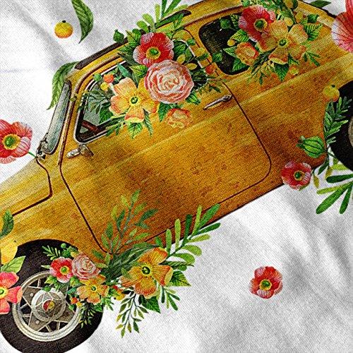 Hippie Auto Klassisch Auto Gelb Reiten Damen Schwarz S-2XL Muskelshirt | Wellcoda Weiß