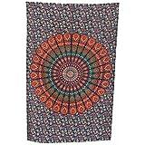 Handicrunch unión colcha tapiz indio de la mandala de más Delic decoración del hogar tela de algodón Decoración Hippy Boho Elefante - 210 x 140 cm, la Armada
