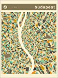 Poster 60 x 80 cm: Budapest Karte von Jazzberry Blue -