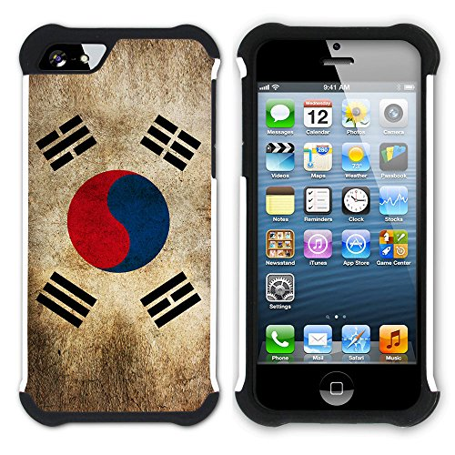 Graphic4You Vintage Uralt Flagge Von Hong Kong Flag Design Hart + Weiche Kratzfeste Hülle Case Schale Tasche Schutzhülle für Apple iPhone SE / 5 / 5S Südkorea Südkoreanischer