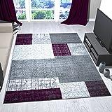 Teppich Kurzflor in Lila Grau Weiß Wohnzimmer Teppiche Modern Kachel-Optik Kariert Pflegeleicht -VIMODA, Maße:160x230 cm